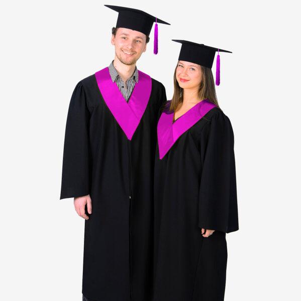 Мантія бакалавра з пурпурним комірцем